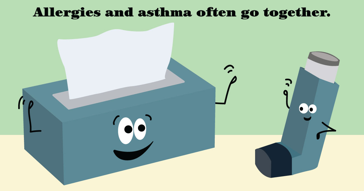 A box of facial tissues waves hello to an asthma inhaler. Text reads: Allergies and asthma often go together.