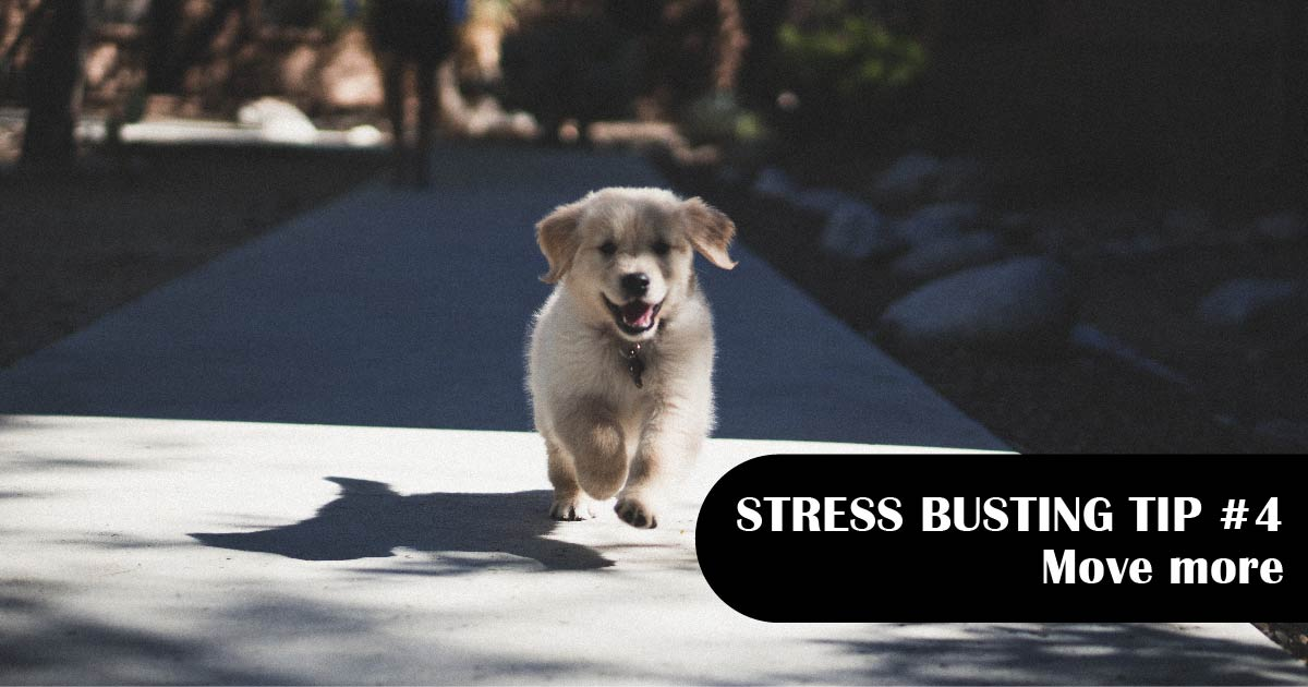 A running puppy. Text reads: Stress-busting tip No. 4: Move more.
